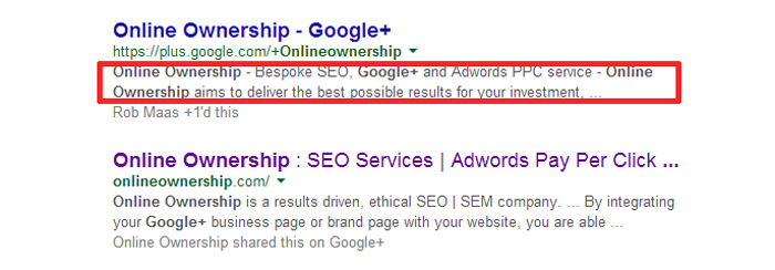 Google+ profile in SERPs