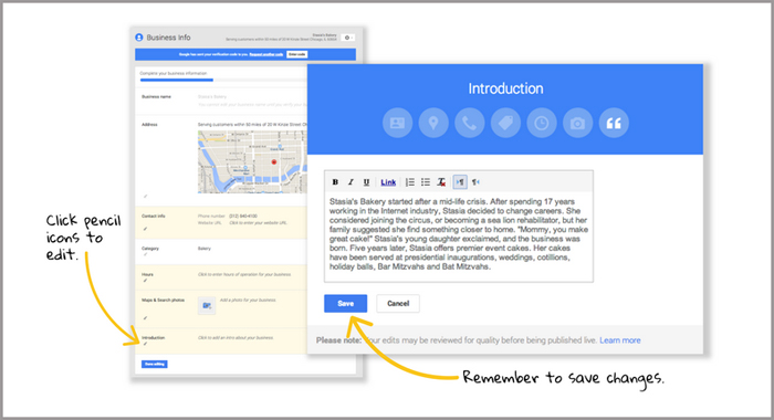 Manage your Google Business Page - Info