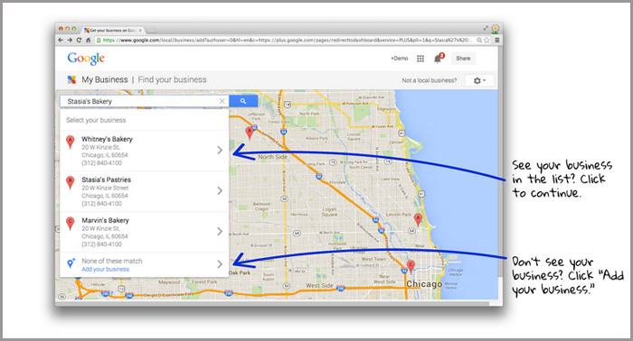 google business page - select the business
