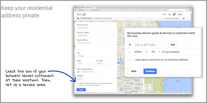 google business page - serviced business