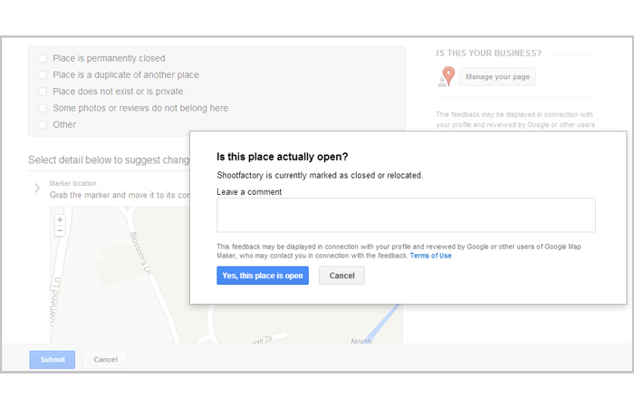 google+ local report problem