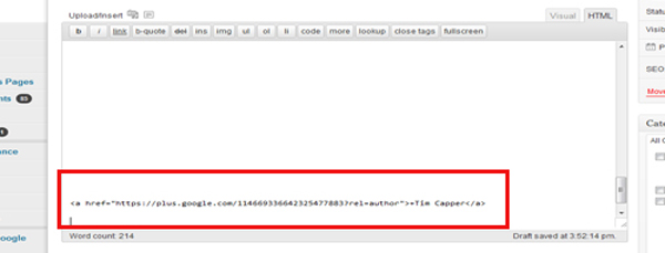 Google+ Rel Author Tag html