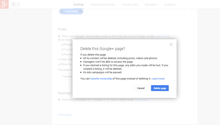 Multiple Google+ Pages Delete Settings