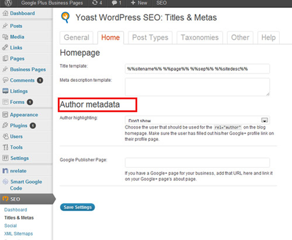 rel=author Step 3 WordPress
