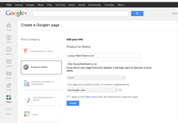 setting up Google+ brand page