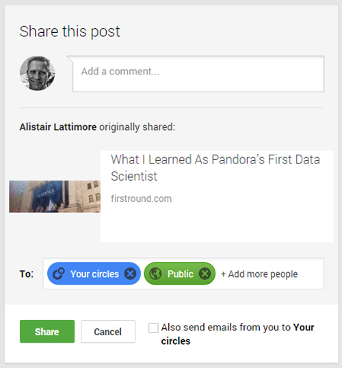 share a google+ post