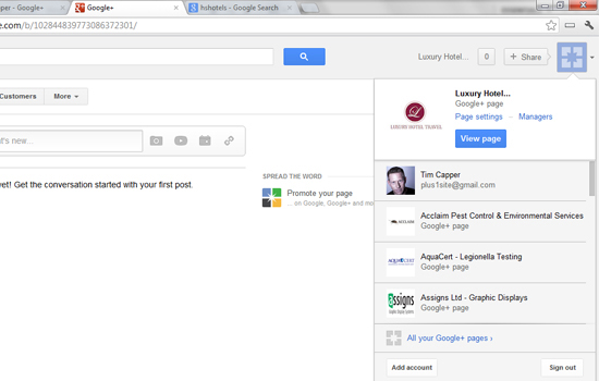 switching between Google+ Pages
