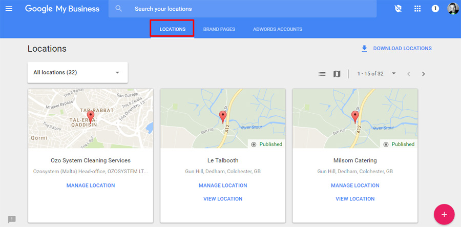Manage Google Business Page in Dashboard