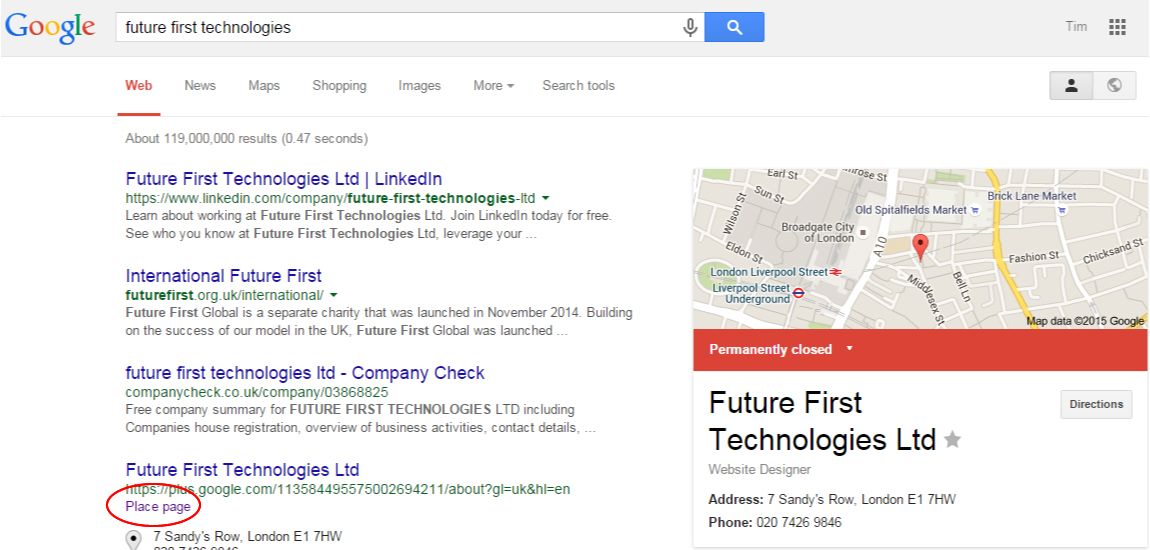 Closed Business Page SERP Change