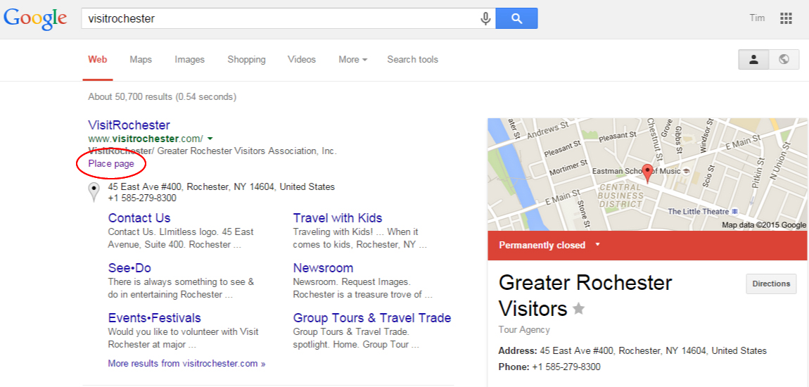 Closed Business Page SERP Snippet