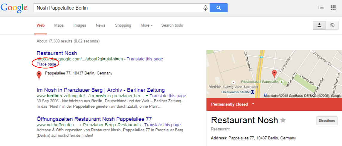 Closed Business Page Snippet Change Germany