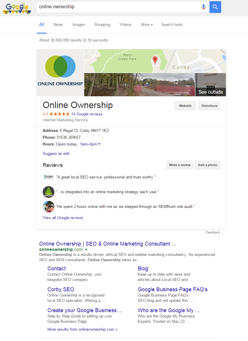 Google.co.uk is displaying knowledge panel as a One Box