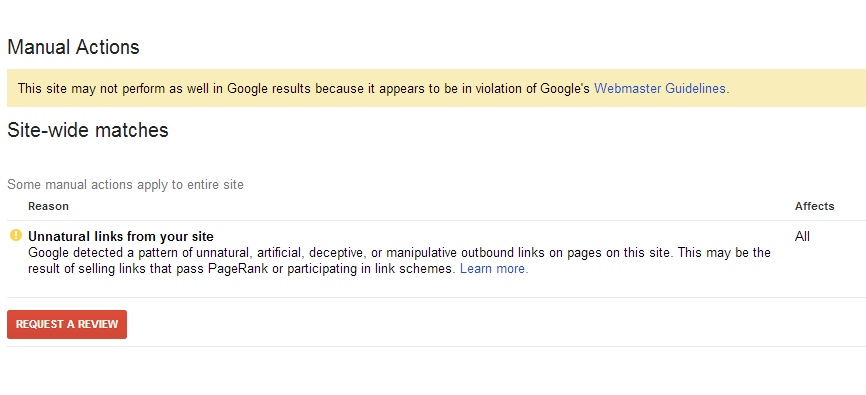 Google Manual Action Notice