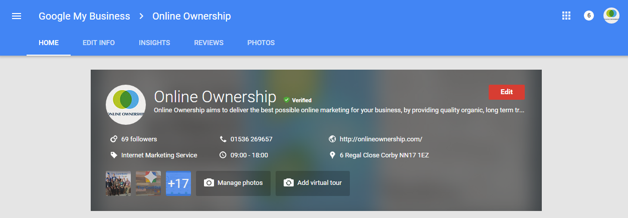 Google Business Page Edit Business Details