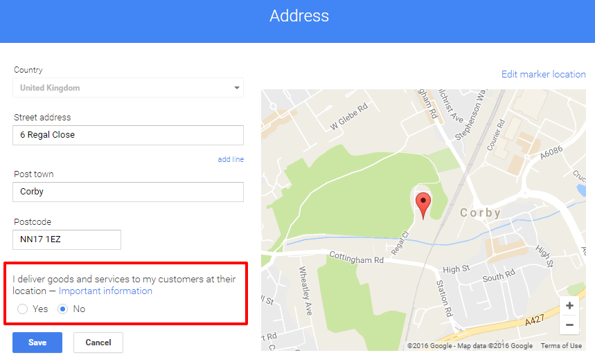 Locksmith Google business page address settings