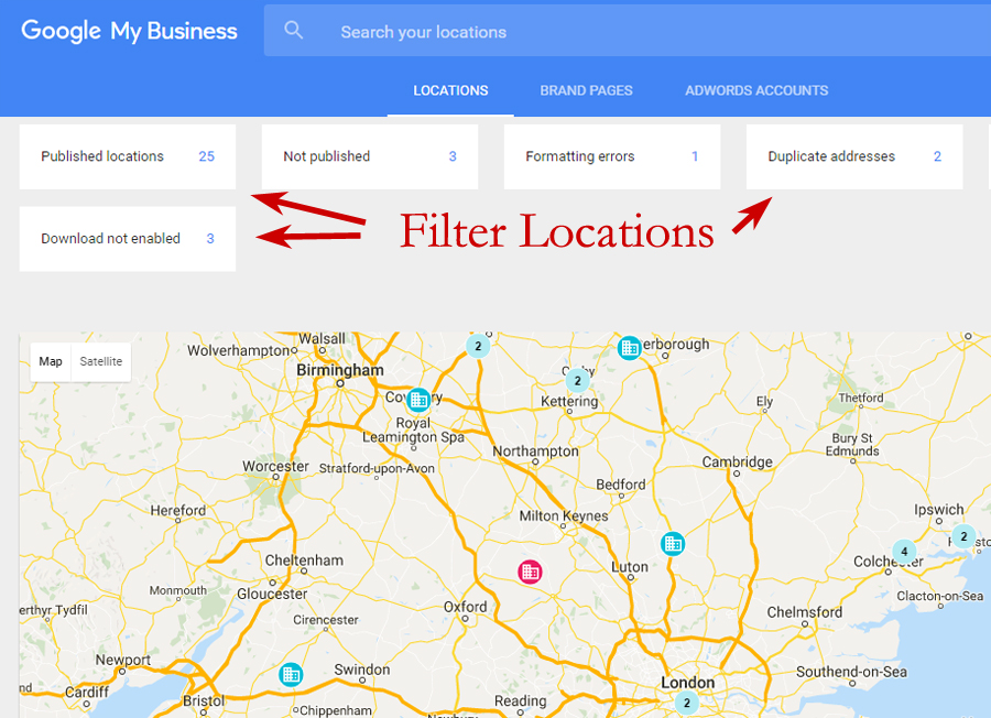 Map View filter business listings