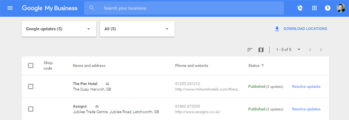 Updates in Google My Business Dashboard