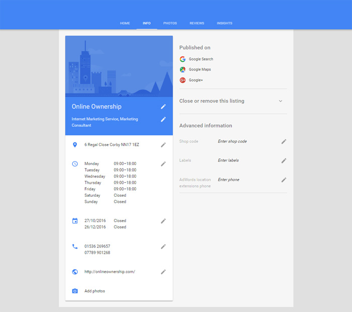 Business Information in Google My Business Dashboard