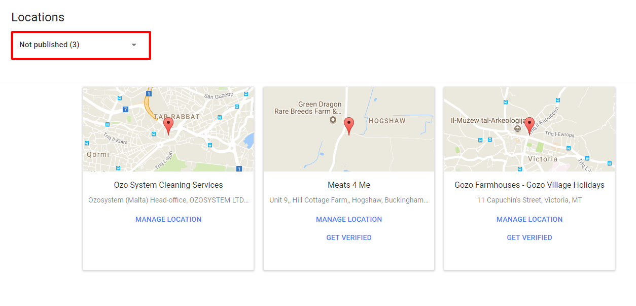 Info Block Selection Google My Business Dashboard - Online Ownership