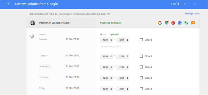Opening Hours Update in Google Business Dashboard
