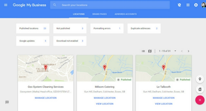 Previous Google My Business Dashboard
