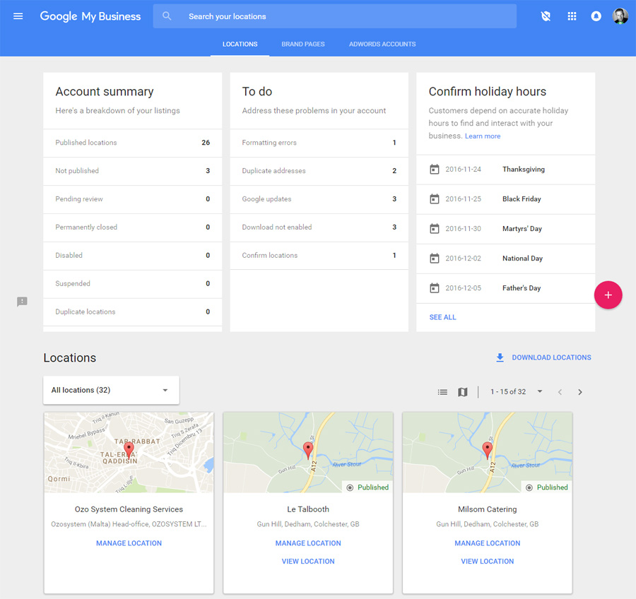Google My Business New Dashboard Layout