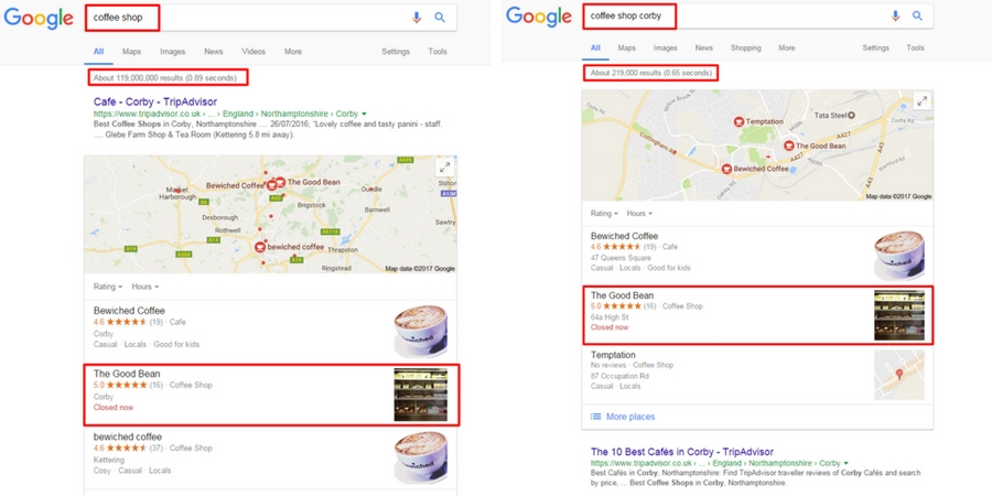 Local business appearing in search result local pack