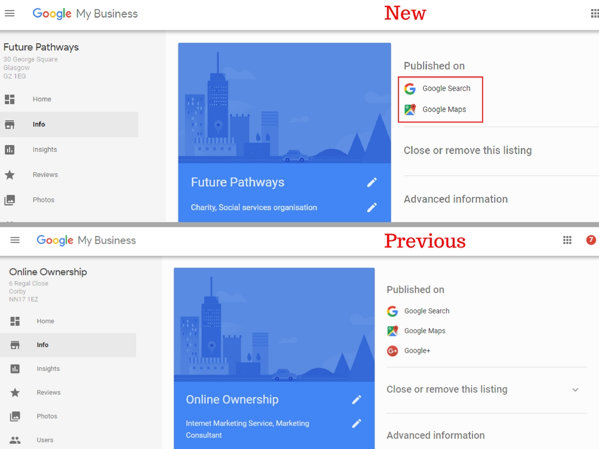 Google My Business Removes Google+ Page