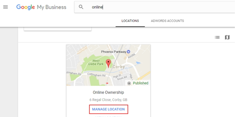 Log into Google My Business Dashboard and select Manage Location for Business