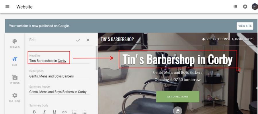 Optimizing Google Website Builder - Headline to Contain Local Area