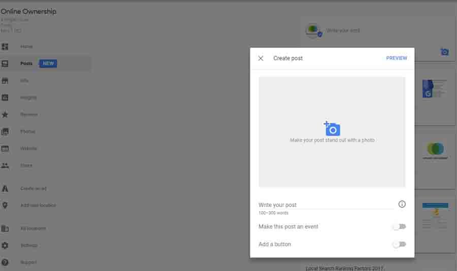 Create Google Post via GMB Dashboard