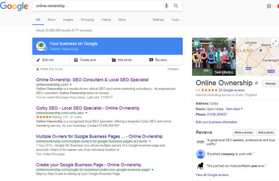 Edit Google My Business Listing Direct in Search