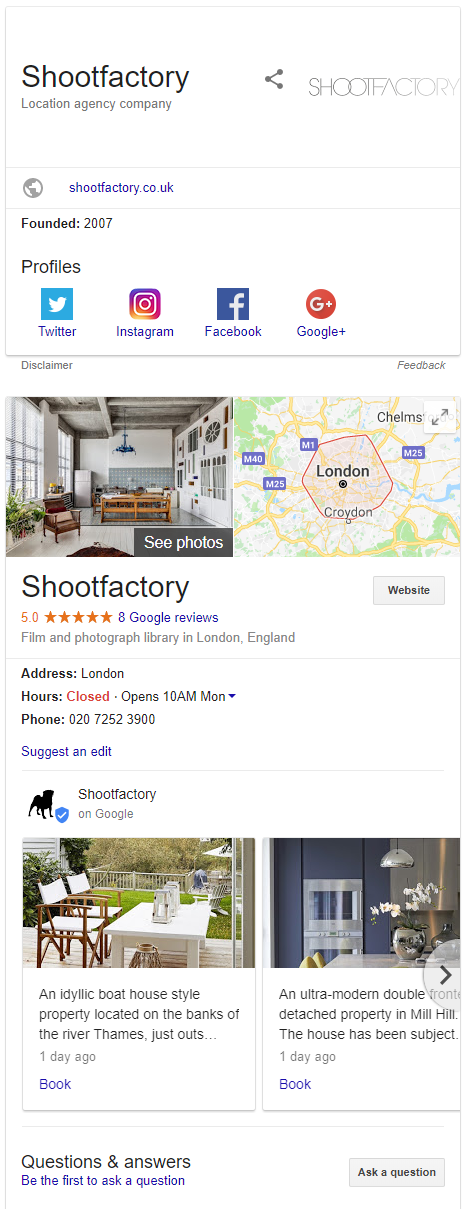 Both Knowledge Graph and Knowledge Panel for Business in SERP - Online Ownership