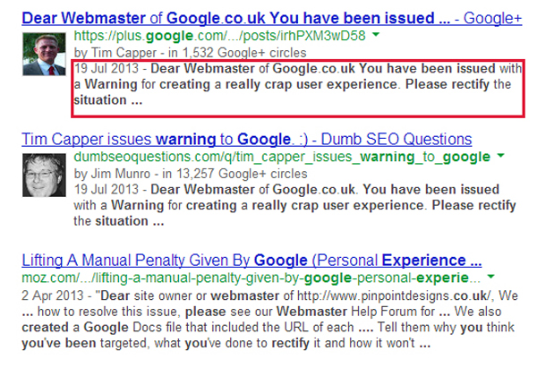 Google+ posts in serps