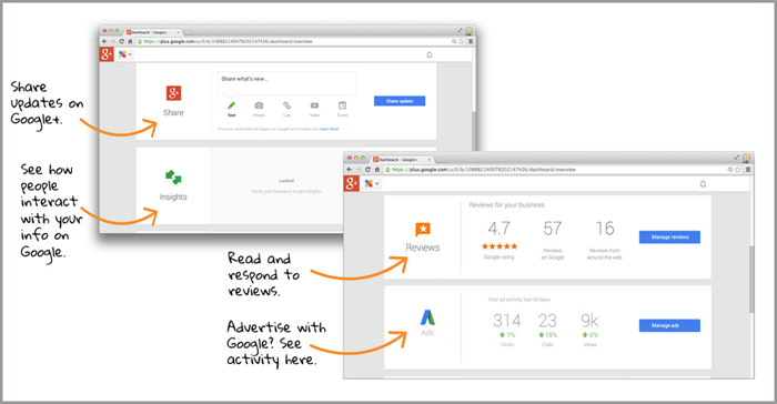 Manage your Google Business Page - dashboard