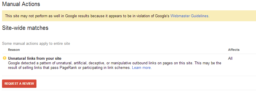 Manual Penalty Action from Google