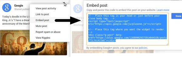 embedded google+ post