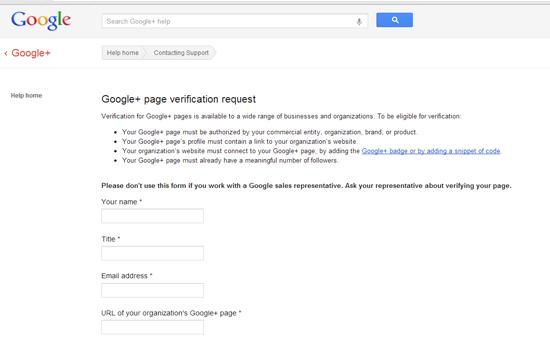 Google+ Page Verification