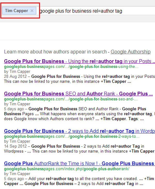 author name in serp