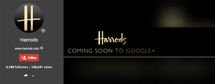 harrods google plus brand