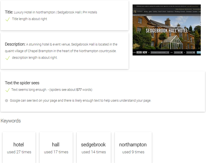 Hotels in Northampton On Page Site Content