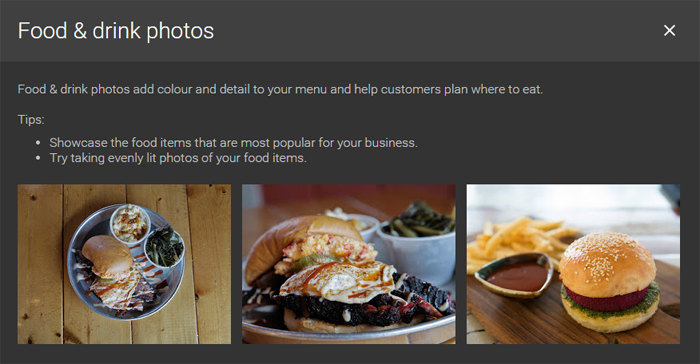 Google Business Pages - Food & Drink