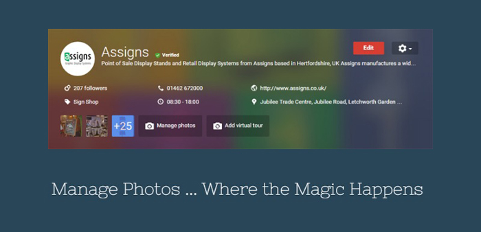 Google Business Pages - Manage Photos Dashboard