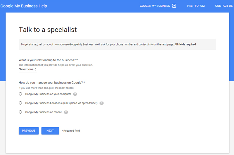 Talk to Google Business Support