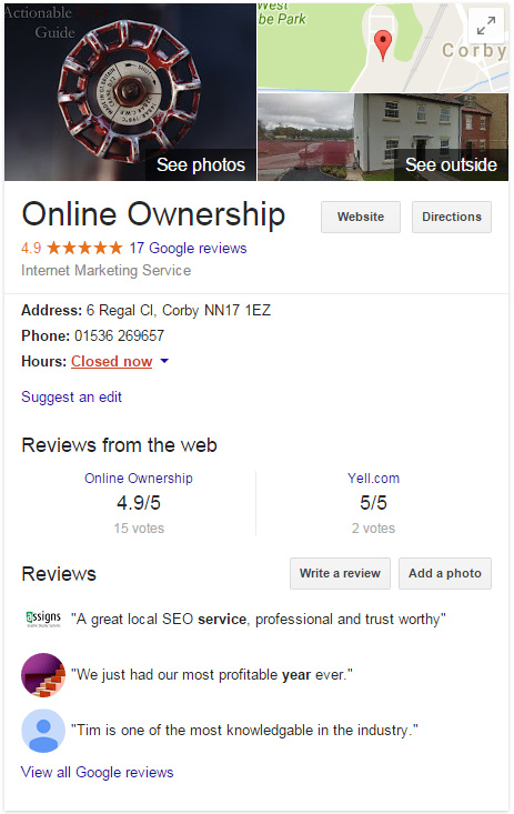 Google Business Page in Search Results