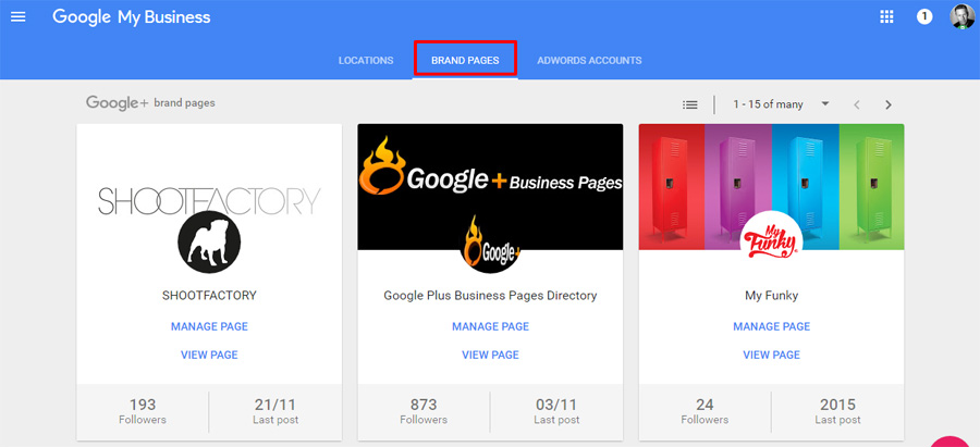 Manage Google Brand Page in Dashboard