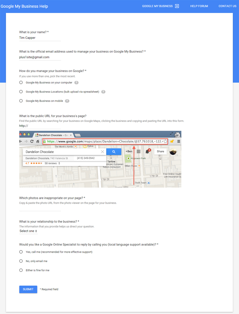 Report Photos Form to Google Business Support