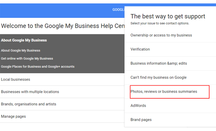 report photos on google business page