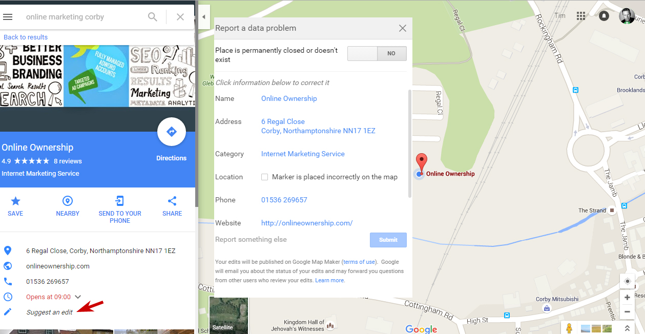 Edit Details in Google Maps