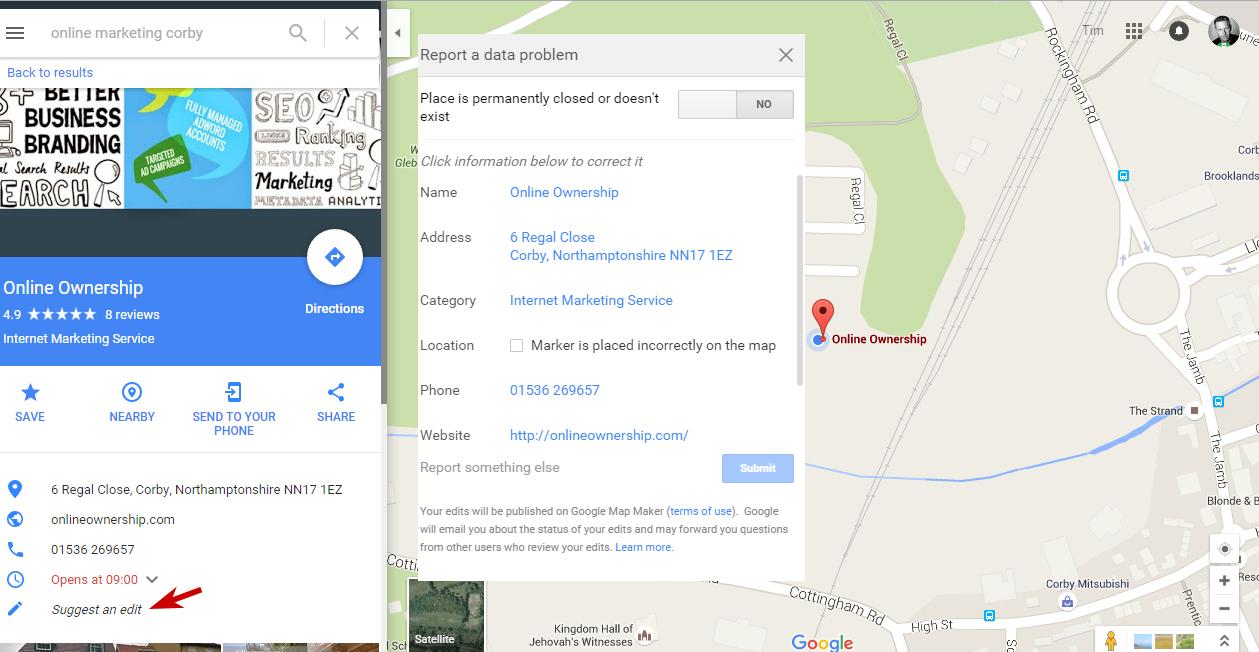 Edit Details in Google Maps